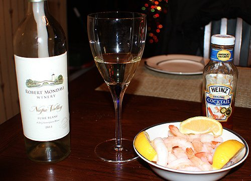 Robert Mondavi Fume Blanc with steamed shrimp.