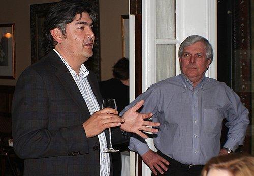 Gustavo Gonzalez describes Mira wines while Craig Calvert listens.