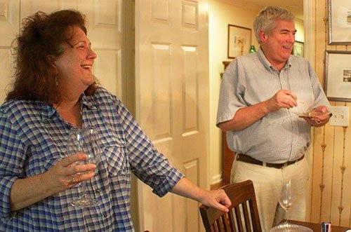 Tonya and Dan share a laugh.