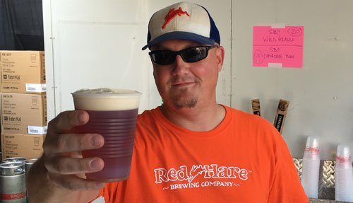 Red Hare's Matt Ellis showing off his Oktoberfest