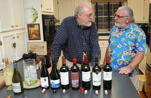 Bob and Dennis comparing the impressive Chilean wines.