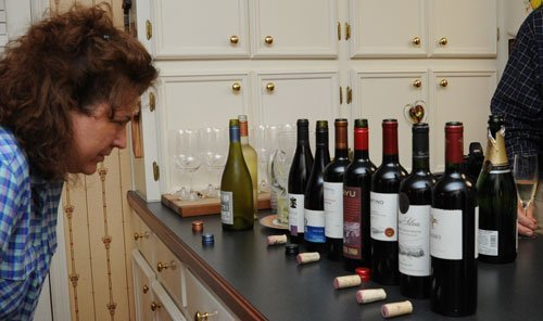 Tonya checks out the wine lineup.