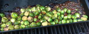 Cooking the brussels sprouts on the grill pan