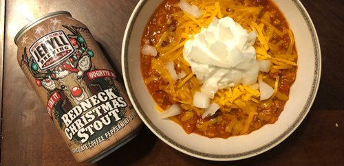 RedNeck Christmas Stout with some nice cheap chili