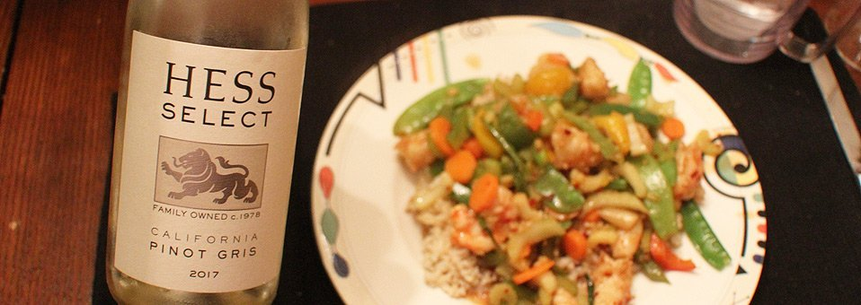Delightful Hess Pinot Gris Tasty With Shrimp Stir Fry
